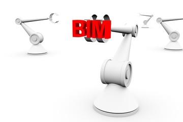 BIM in the form of a hand manipulator robot 3D illustration
