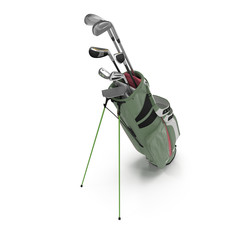 Golf Bag with Clubs on white. 3D illustration