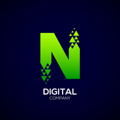 Letter N Pixel logo, Triangle, Arrow and forward logo, Green color,Technology and digital logotype
