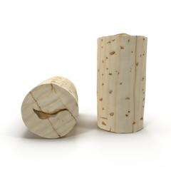 Used Wine Cork on white. 3D illustration
