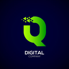 Letter Q Pixel logo, Triangle, Arrow and forward logo, Green color,Technology and digital logotype