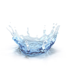 water splash isolated on white. 3D illustration