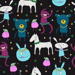Seamless pattern with funny monsters. Animals and monsters. Children's fun ornament.