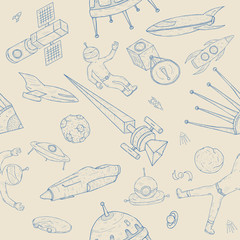 Hand drawn astronomy seamless pattern. Background with space objects, planets,shuttles, rockets, satellites and cosmonaut.