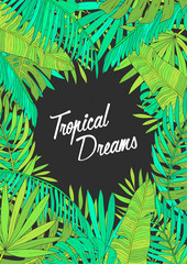 Summer background with tropical leaves, monstera, chamaedorea, banana and other palms. Template for placard, poster, event invitation with place for text.