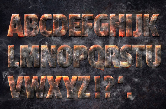 Magma Hot Text Strong Rock Alphabet Effect Font