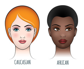 African and caucasian female faces vector illustration. Black and white beautiful women face set isolated on white background