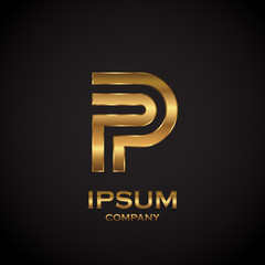 Letter P with metallic texture,3d Glossy, metal texture, Gold, steel and realistic shadow for logo