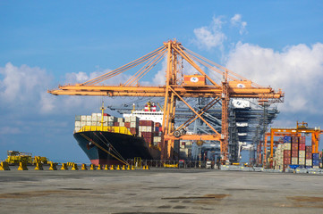 Containers loading by crane , Trade Port , Shipping