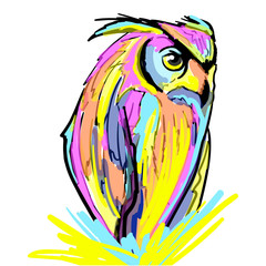 Colorful owl vector illustration. Beautiful print, bright design.