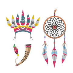 Wild west american indian feather headdress designed element traditional art concept and native tribal ethnic feather culture ornament for the design vector illustration.