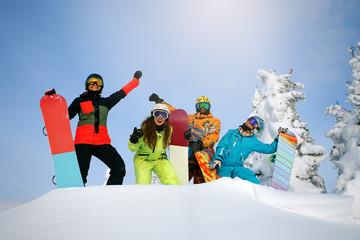 Group happy friends having fun at Sheregesh ski resort.
