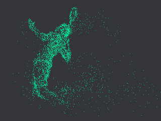 Badminton players,vector graphics,composed of mosaic particle.