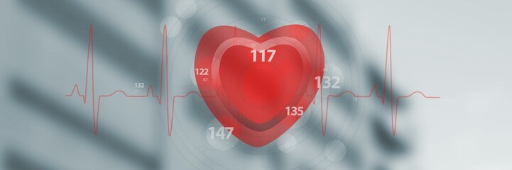 Composite image of application of heart rate 3d