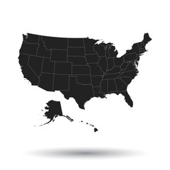 America map icon. Flat vector illustration. USA sign symbol with shadow on white background.