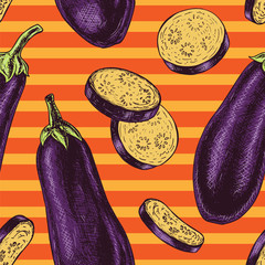 Seamless pattern with eggplant. Vector sketch