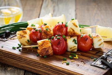 Homemade barbecue haloumi and cherry tomato kebabs