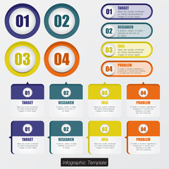 Set of infographic design in blue/green/yellow/orange colour.