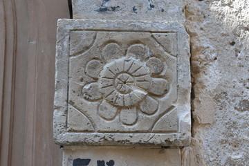 Keystone of an ancient stone arch