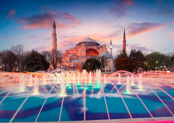 Colorful spring sunset in Sultan Ahmet park in Istanbul, Turkey