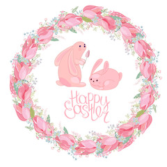 Easter round  wreath with rabbits, tulips, herbs and phrase Happy Easter. Red and pink color. White background.