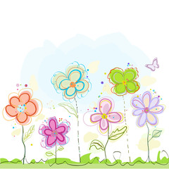 Floral abstract colorful spring flowers greeting card