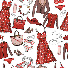 Seamless pattern with woman dresses, underwear, bra, accessories, jewel, bags. Endless texture for fashion design. Objects on white, red and brown color. Romantic and casual style.