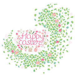 Frame with pretty small leaves and phrase Happy Easter. Festive template for your season design.