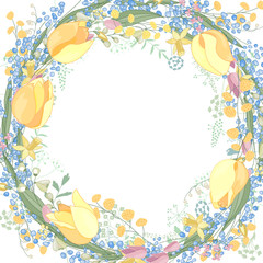 Round blank frame with pretty flowers muscari, tulips and daffodils. Festive floral circle for your season design.