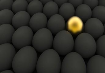 Easter background Golden and black eggs