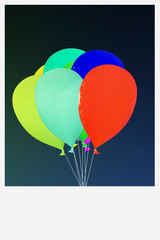balloons on old picture