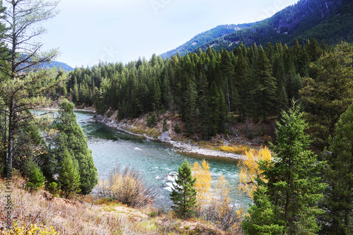 Wall mural Mountain River with Fall Colors