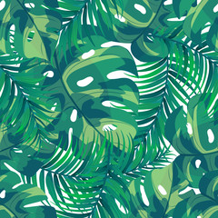 Tropical background with palm leaves. Vector seamless pattern
