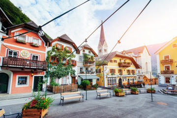 Scenic view. The historic area of the city Hallstatt with traditional colorful houses in Halshtati. Austria