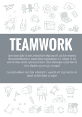 Vector template for teamwork theme with hand drawn doodles business icon in background.Concept for business idea,startup and financial.