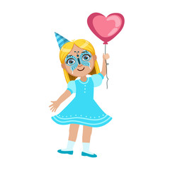 Girl In Butterfly Mask With Balloon, Part Of Kids At The Birthday Party Set Of Cute Cartoon Characters With Celebration Attributes