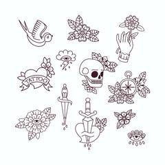 Old School Tattoo Elements. Set of Vintage Tattoos.