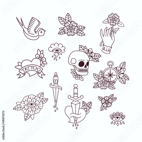 Seamless Doodle Pattern Traditional Old School Tattoo Vector