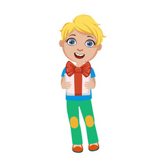 Boy Holding Present, Part Of Kids At The Birthday Party Set Of Cute Cartoon Characters With Celebration Attributes