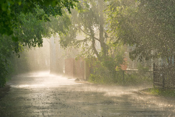 Torrential rain and sunlight on the street.