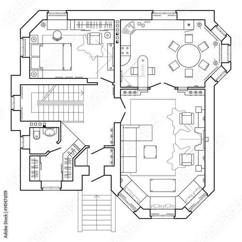 u0026quot black and white architectural plan of a house  layout of