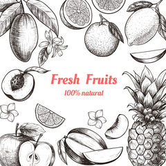 Vector frame with fruits and flowers . Hand drawn. Vintage style