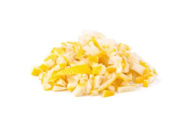 peel chopped lemon zest isolated on a white background