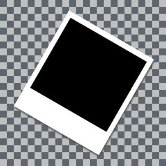 Photo frame with shadow. white plastic border. transparent checkerboard background. 30 degree angle. vector illustration