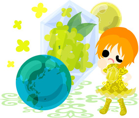 A cute girl and a crystal of yellow flowers and globe