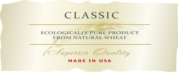 Food or drink label template for Organic farming products with golden ripe wheat ear.