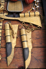 Medieval knives in the scabbard