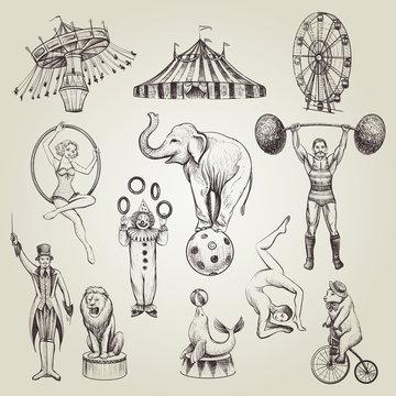 Circus vintage hand drawn vector illustrations set.