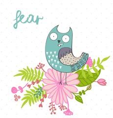 Fear. Vector illustration of a cartoon owl