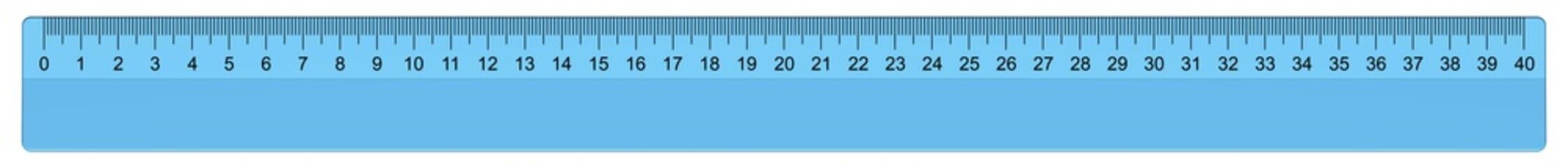 langes blaues Lineal